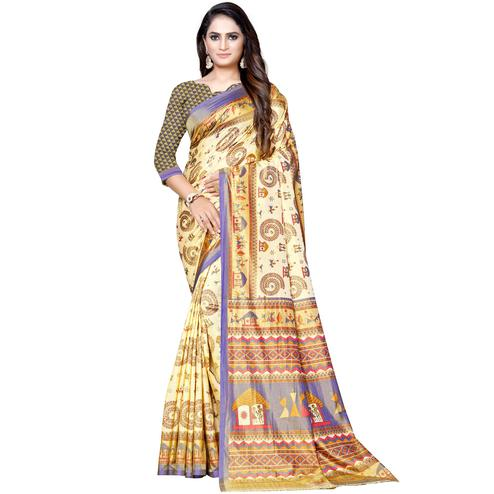 Graceful Cream-Purple Colored Casual Printed Art Silk Saree