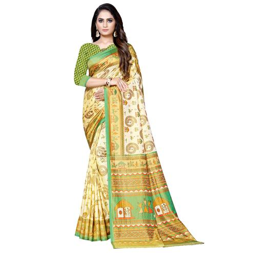 Blooming Cream-Green Colored Casual Printed Art Silk Saree