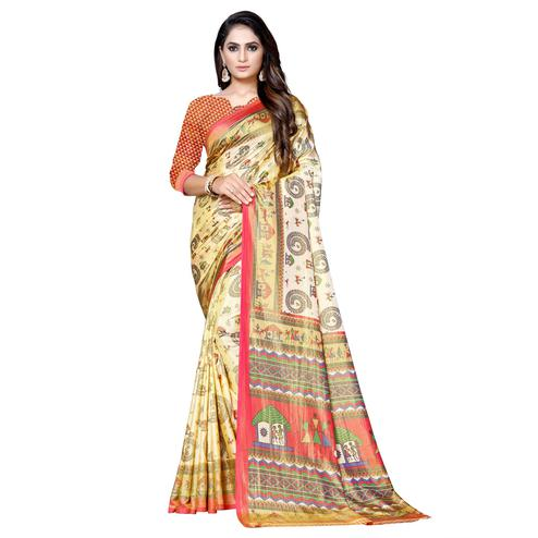 Charming Cream-Red Colored Casual Printed Art Silk Saree