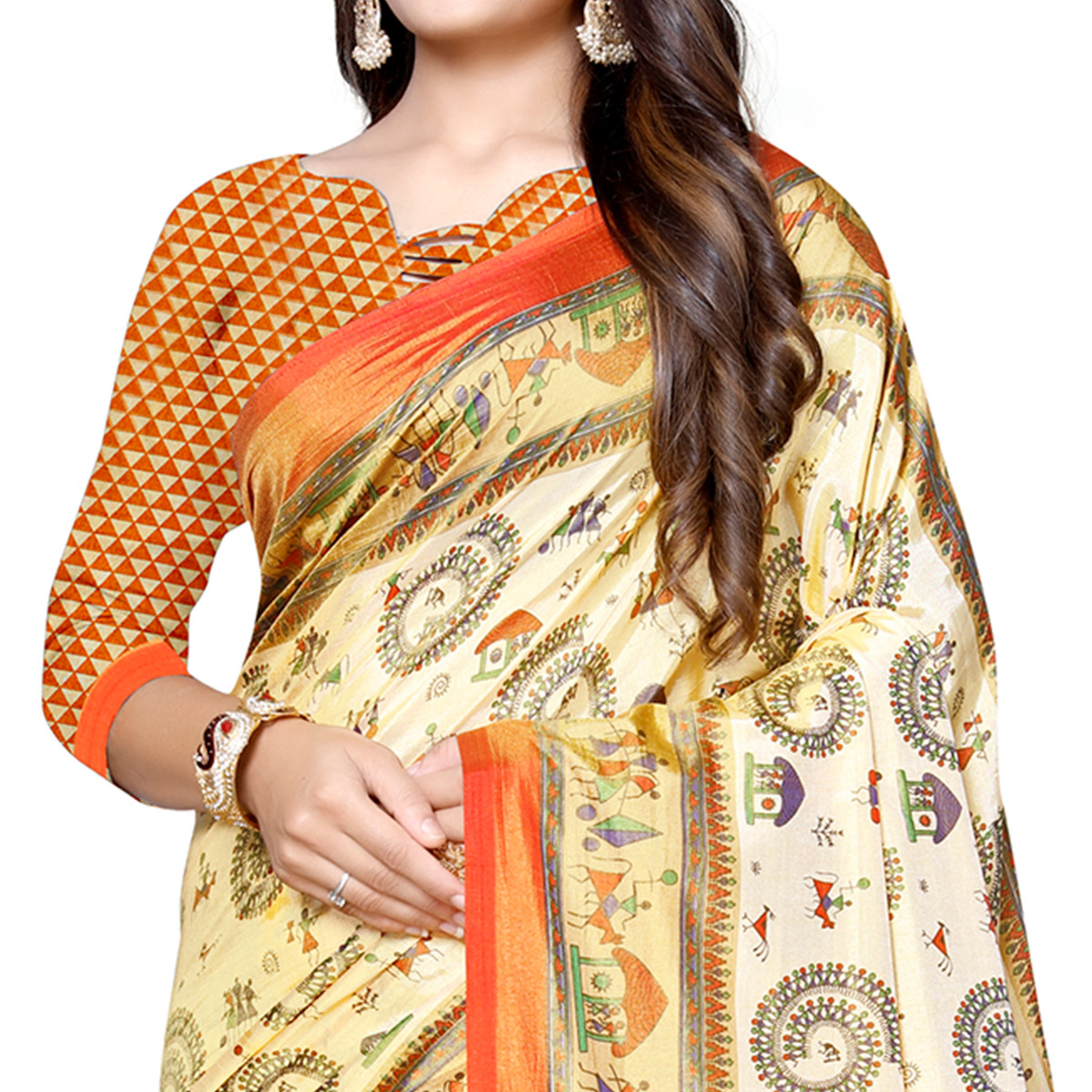 Jazzy Cream-Orange Colored Casual Printed Art Silk Saree