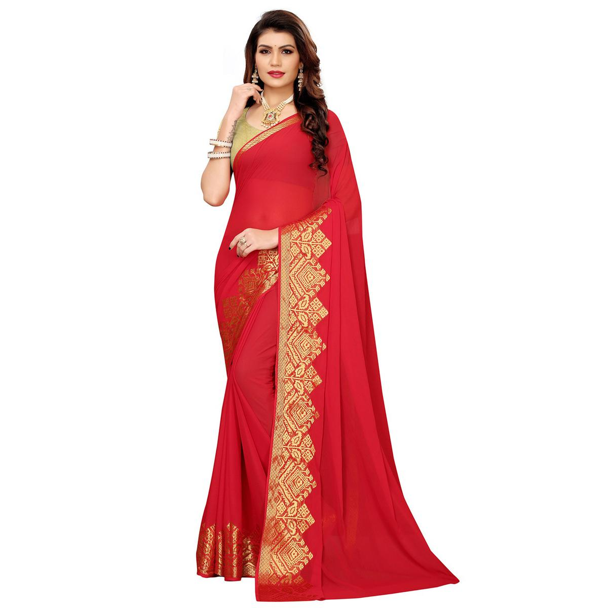 Majesty Red Colored Casual Woven Georgette Saree