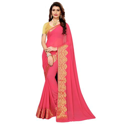 Mesmerising Pink Colored Casual Woven Georgette Saree