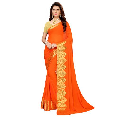 Pleasance Orange Colored Casual Woven Georgette Saree