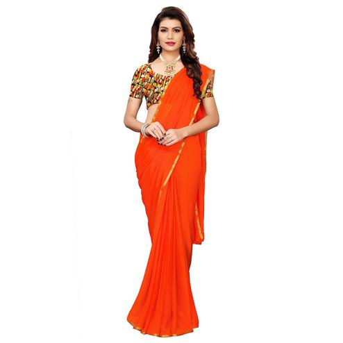Ethnic Orange Colored Casual Wear Chiffon Saree