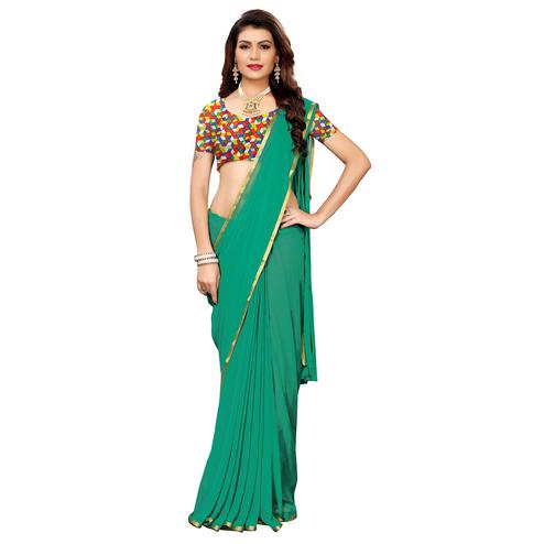 Ravishing Turquoise Green Colored Casual Wear Chiffon Saree