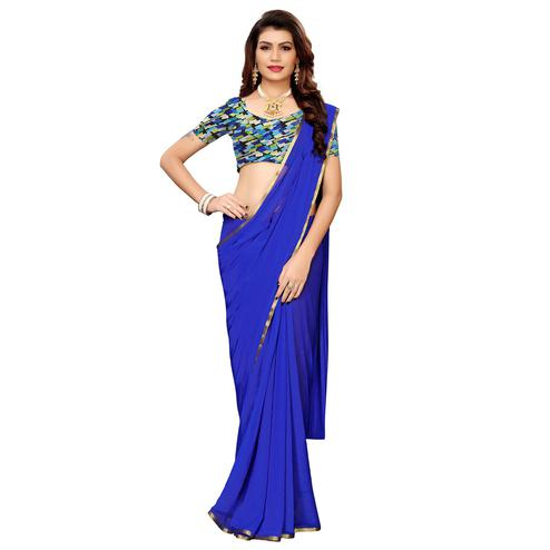 Staring Blue Colored Casual Wear Chiffon Saree