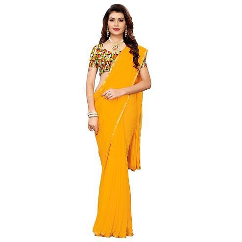 Dazzling Yellow Colored Casual Wear Chiffon Saree