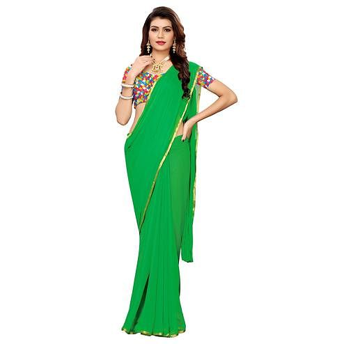 Surpassing Green Colored Casual Wear Chiffon Saree