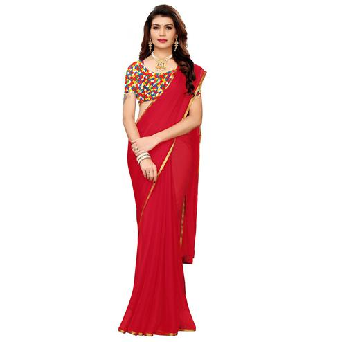 Arresting Crimson Red Colored Casual Wear Chiffon Saree