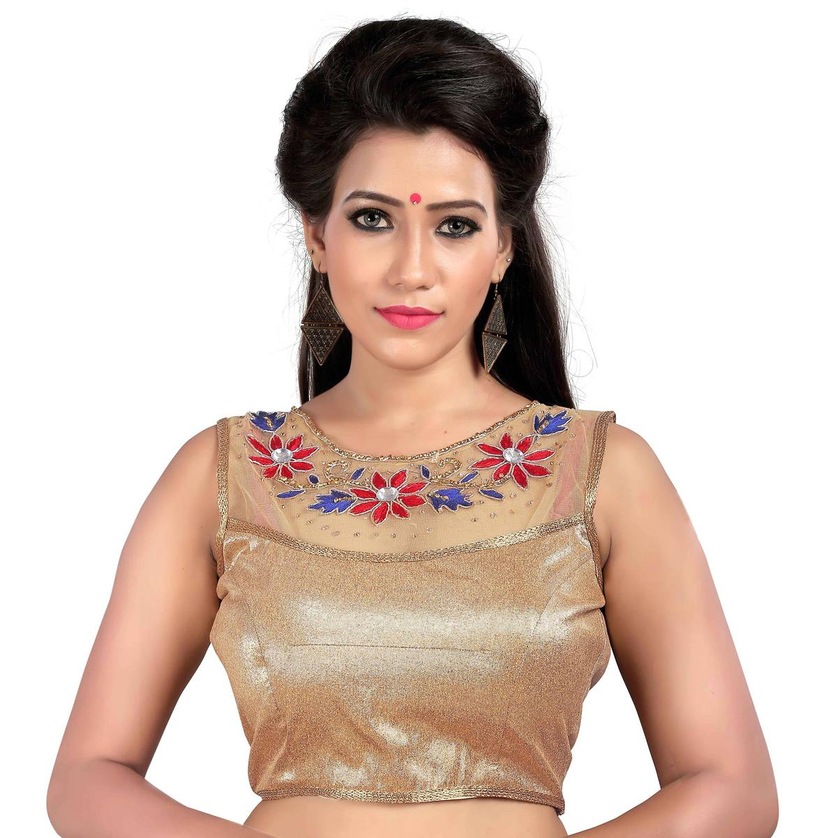 Beige Embroidered Work Stitched Blouse