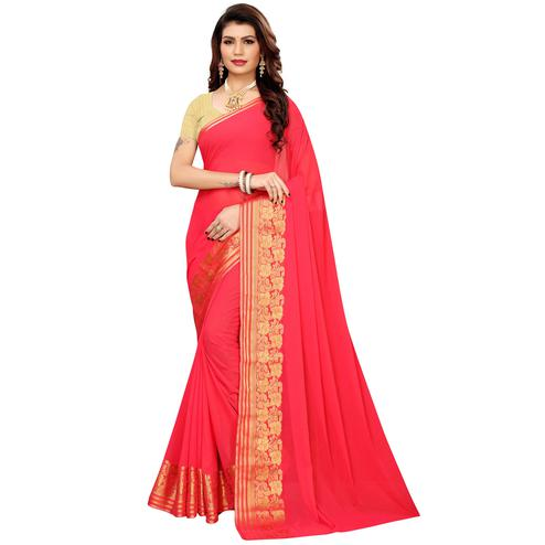 Trendy Pink Colored Casual Woven Georgette Saree