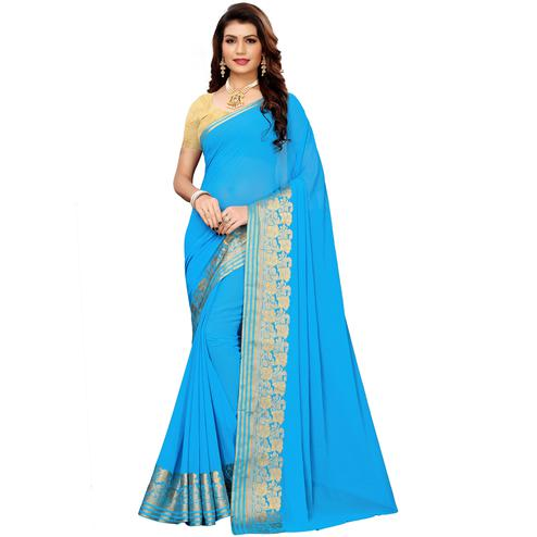 Elegant Sky Blue Colored Casual Woven Georgette Saree