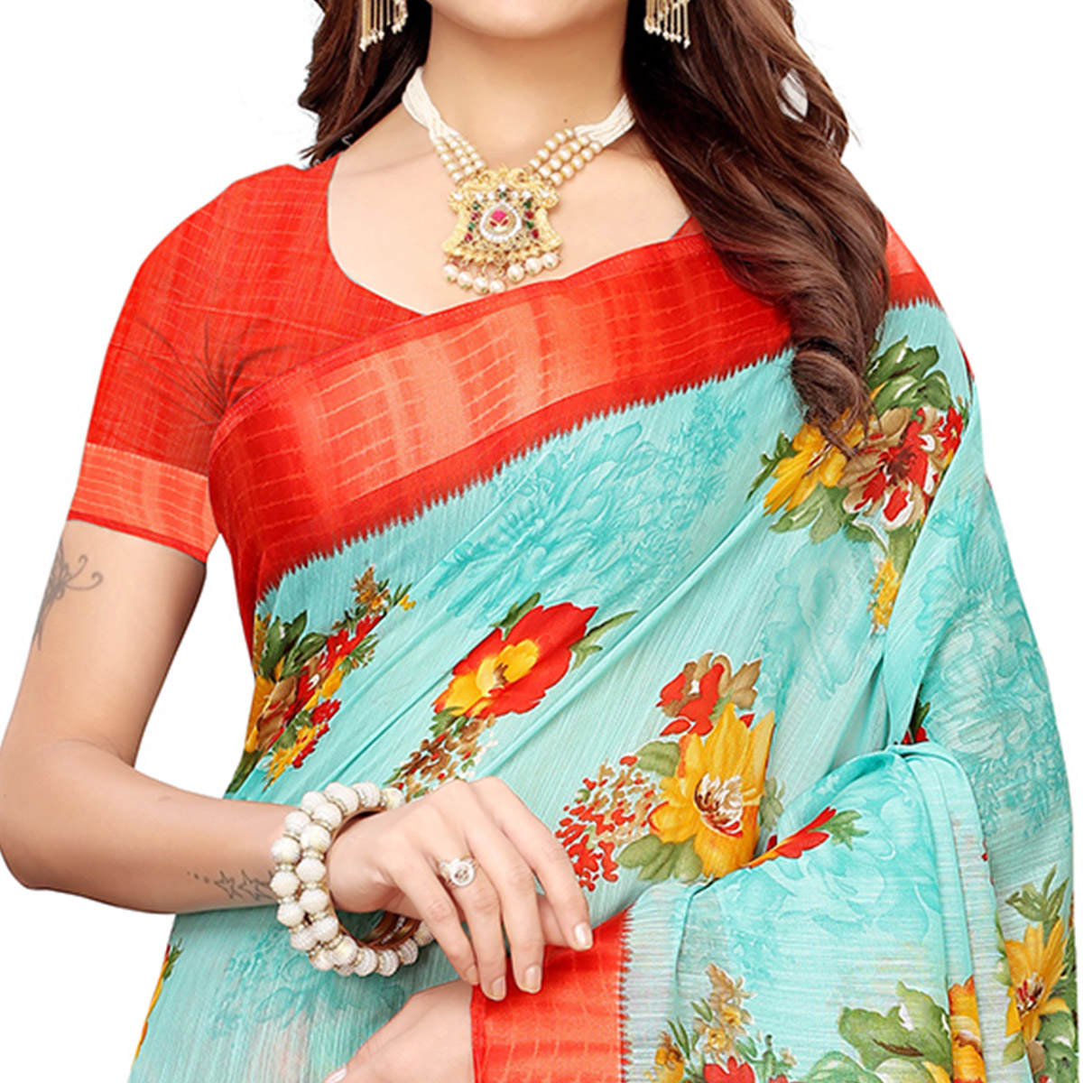 Radiant Aqua Blue Colored Casual Printed Linen Saree