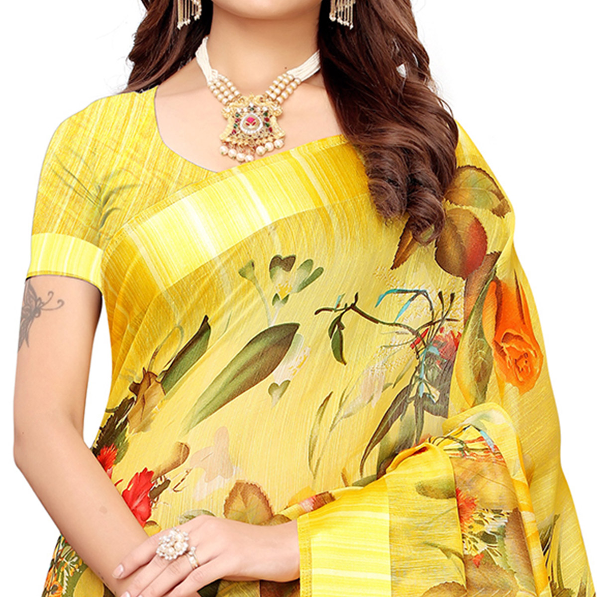 Opulent Yellow Colored Casual Printed Linen Saree
