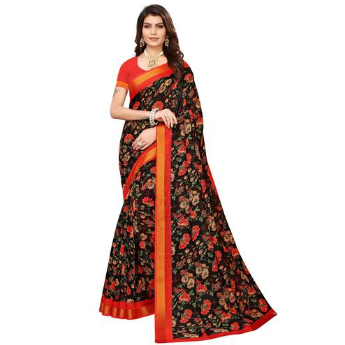 Energetic Black Colored Casual Printed Linen Saree