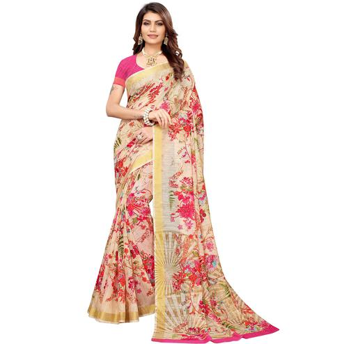 Glowing Cream Colored Casual Printed Linen Saree