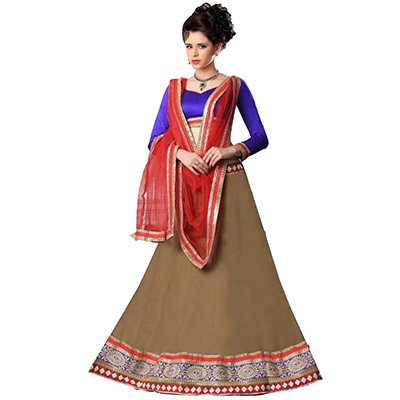 Blue - Brown Lehenga