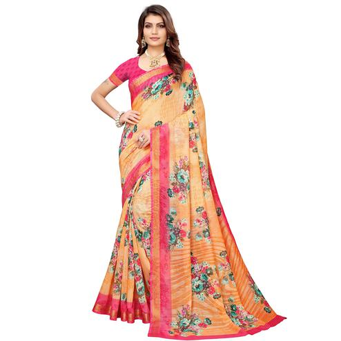 Exceptional Peach Colored Casual Printed Linen Saree