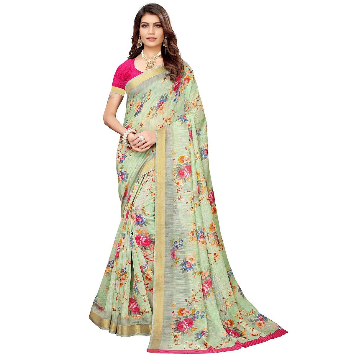 Gleaming Pastel Green Colored Casual Printed Linen Saree