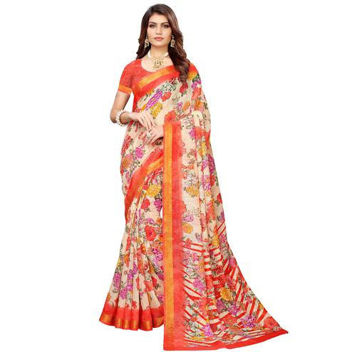 Unique Cream Colored Casual Printed Linen Saree