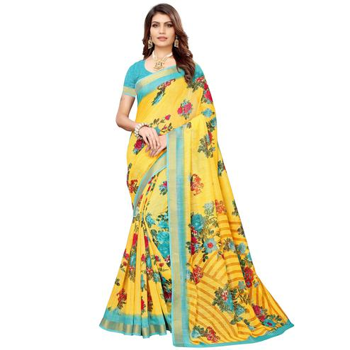 Demanding Yellow Colored Casual Printed Linen Saree