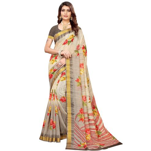 Refreshing Cream Colored Casual Printed Linen Saree