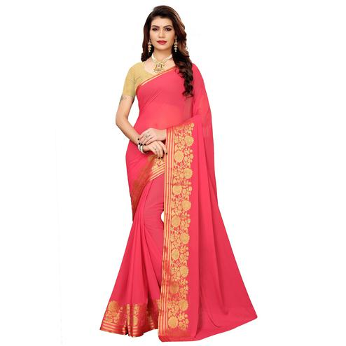 Preferable Pink Colored Casual Woven Georgette Saree