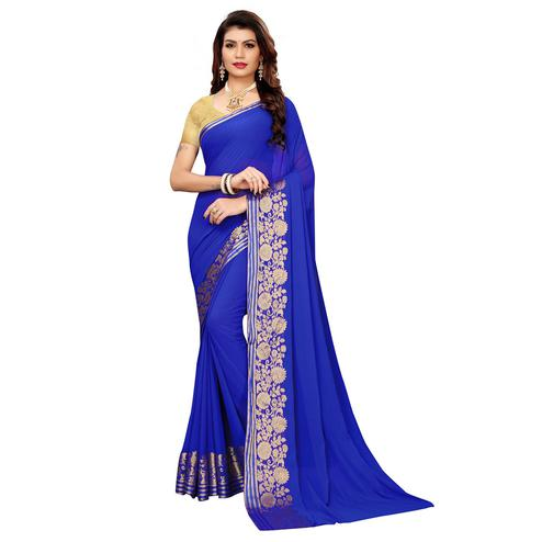 Marvellous Blue Colored Casual Woven Georgette Saree