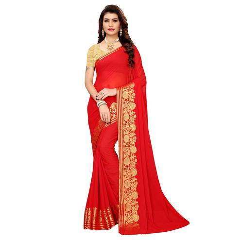 Flamboyant Red Colored Casual Woven Georgette Saree