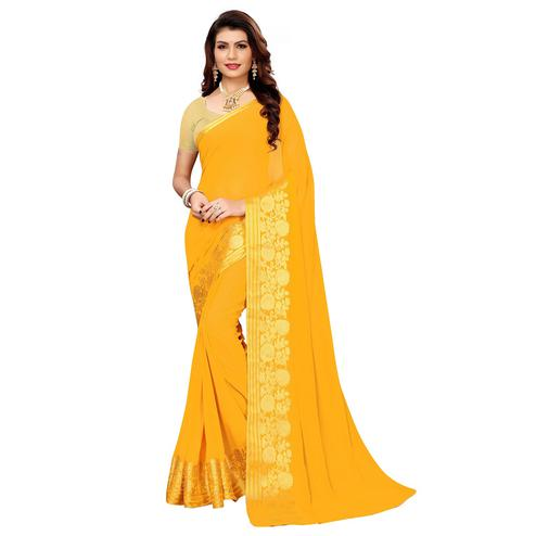 Pretty Yellow Colored Casual Woven Georgette Saree