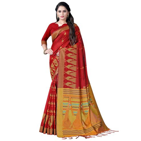 Sensational Maroon Colored Festive Wear Printed Cotton Saree