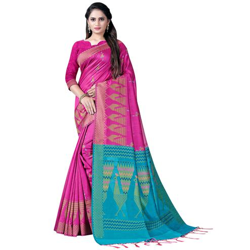 Flaunt Pink Colored Festive Wear Printed Cotton Saree