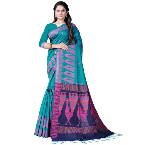 Stunning Rama Blue Colored Festive Wear Printed Cotton Saree