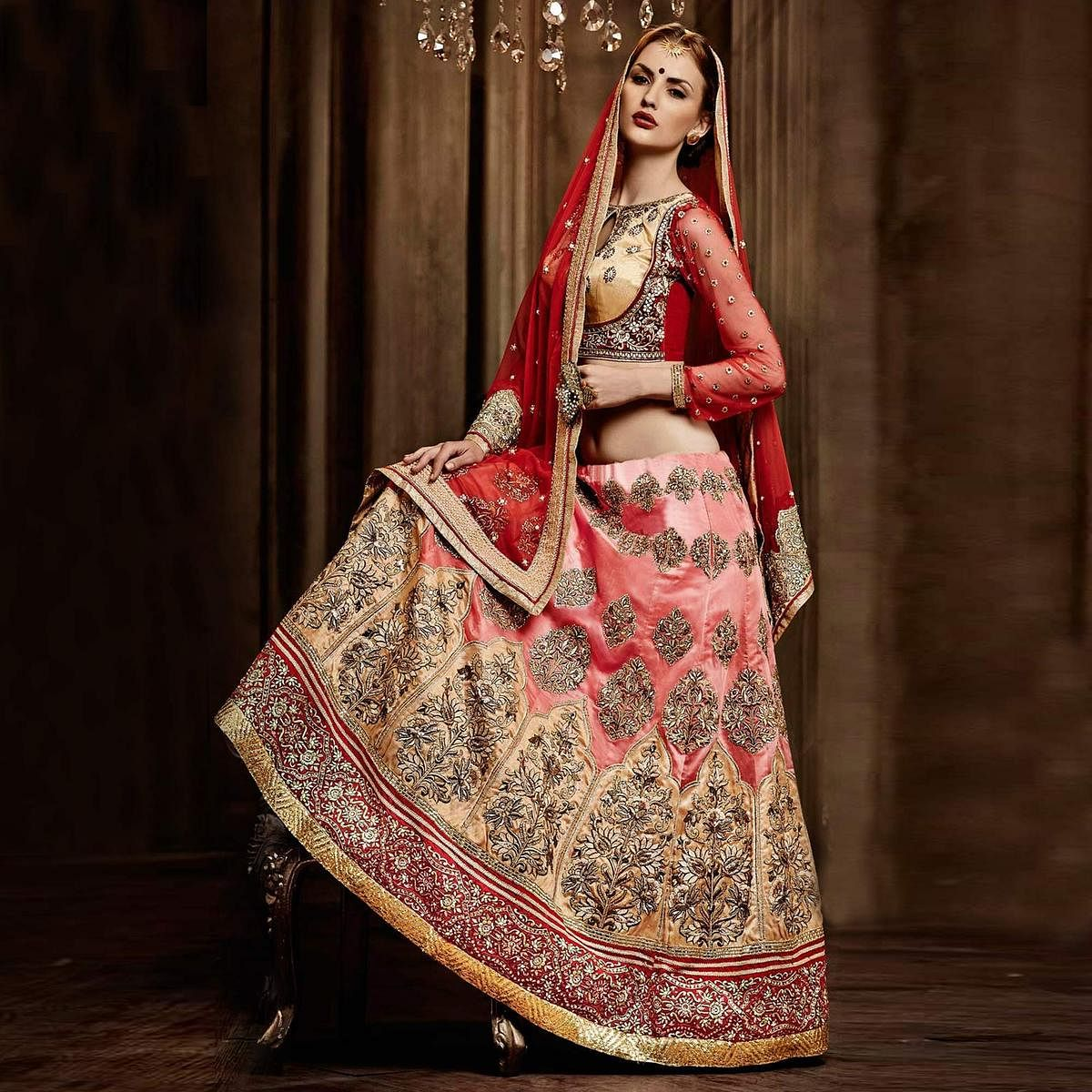 Pink - Golden Lehenga with Red Choli