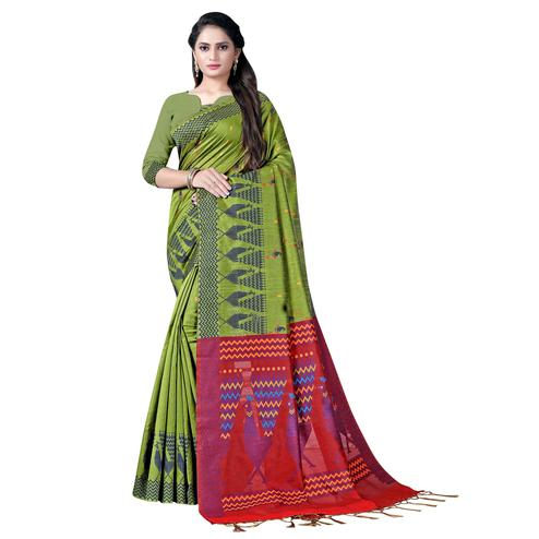 Flirty Green Colored Festive Wear Printed Cotton Saree