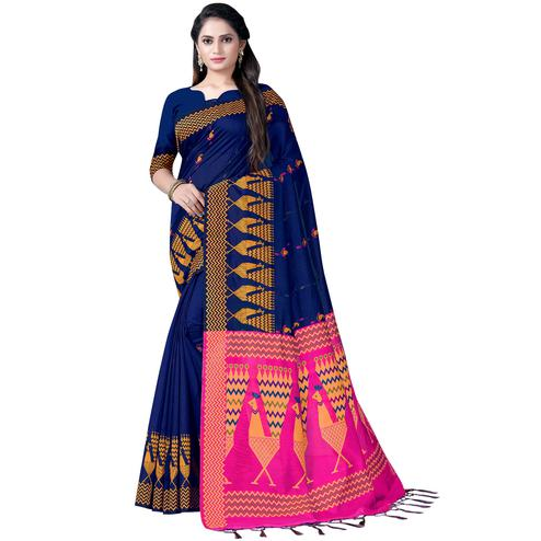 Adorning Navy Blue Colored Festive Wear Printed Cotton Saree
