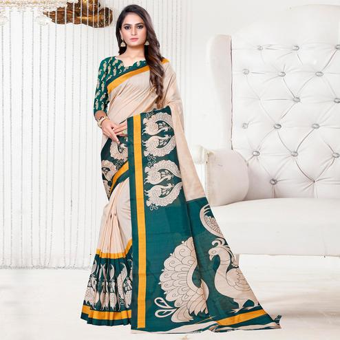 Appealing Beige-Green Colored Casual Printed Bhagalpuri Silk Saree