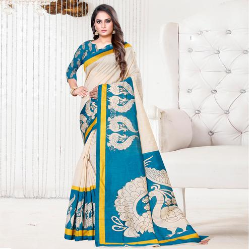 Capricious Beige-Sky Blue Colored Casual Printed Bhagalpuri Silk Saree