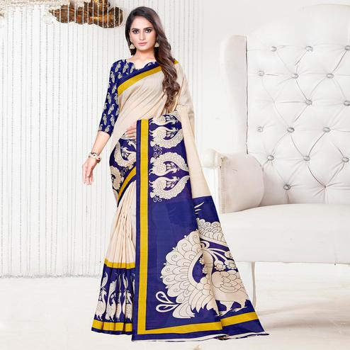 Groovy Beige-Blue Colored Casual Printed Bhagalpuri Silk Saree