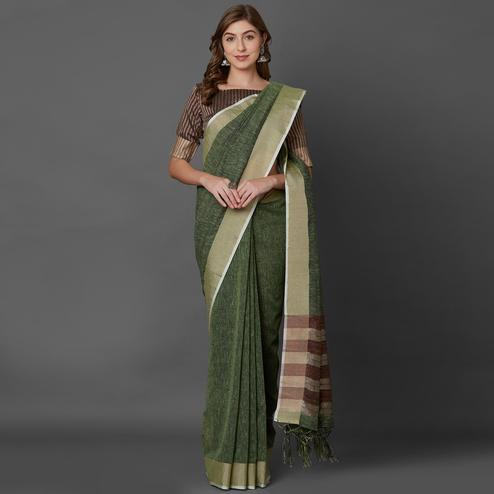 Glorious Green Colored Casual Printed Linen Saree