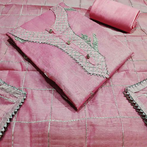 Radiant Pink Colored Partywear Embroidered Silk Dress Material