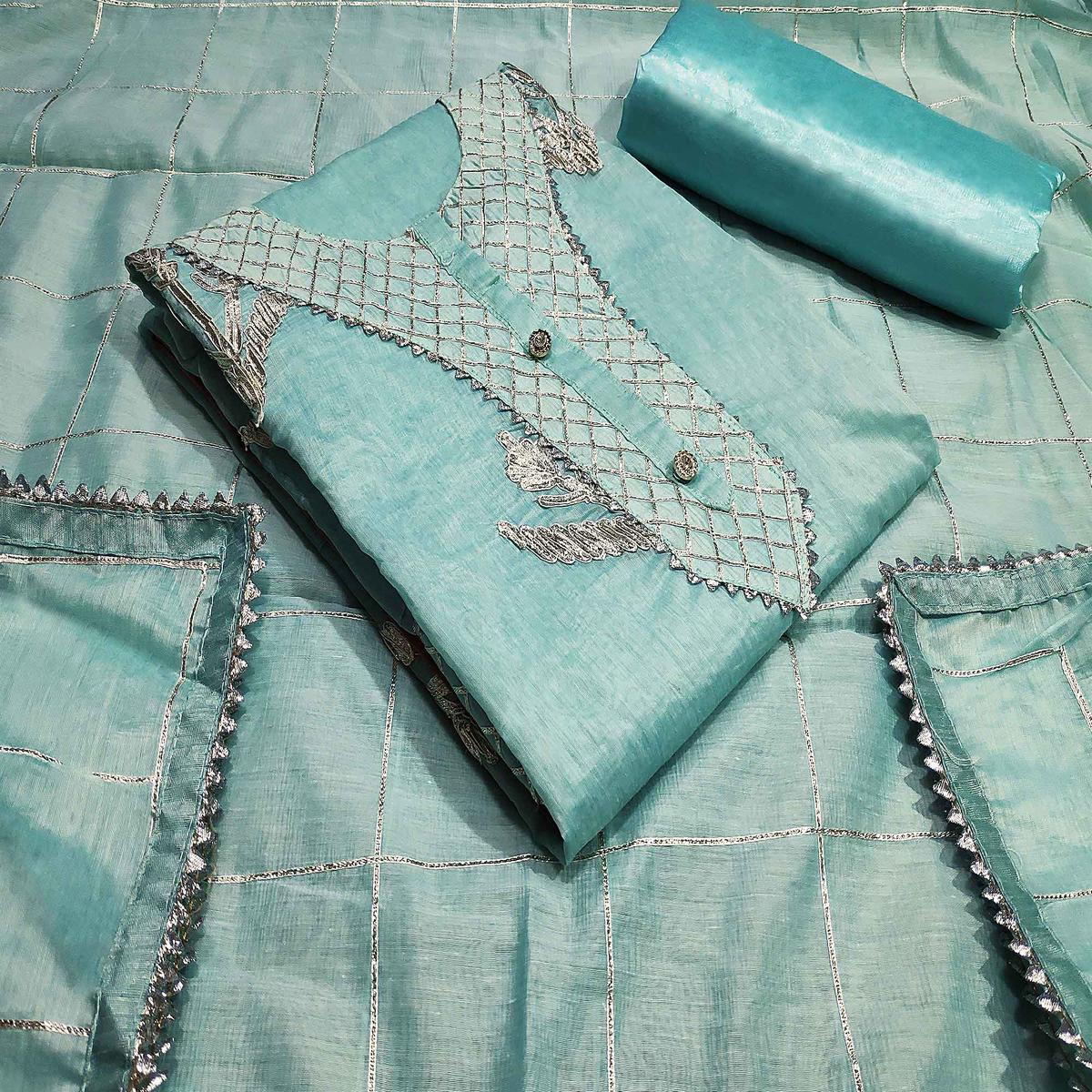 Pleasant Aqua Blue Colored Partywear Embroidered Silk Dress Material