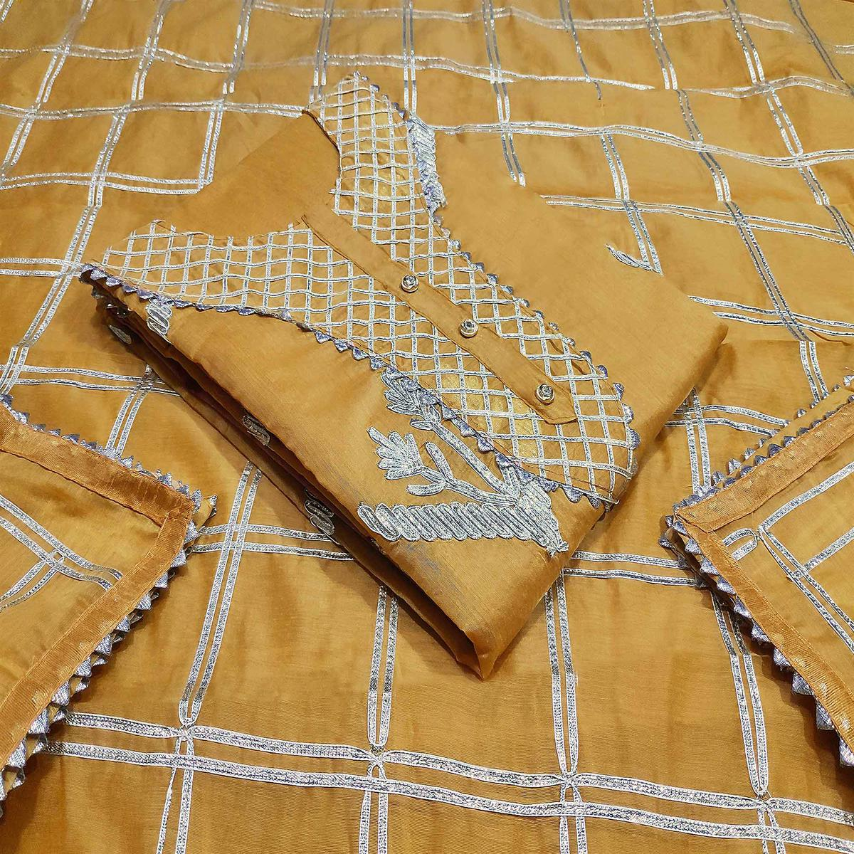 Gleaming Mustard Yellow Colored Casual Wear Embroidered Silk Dress Material