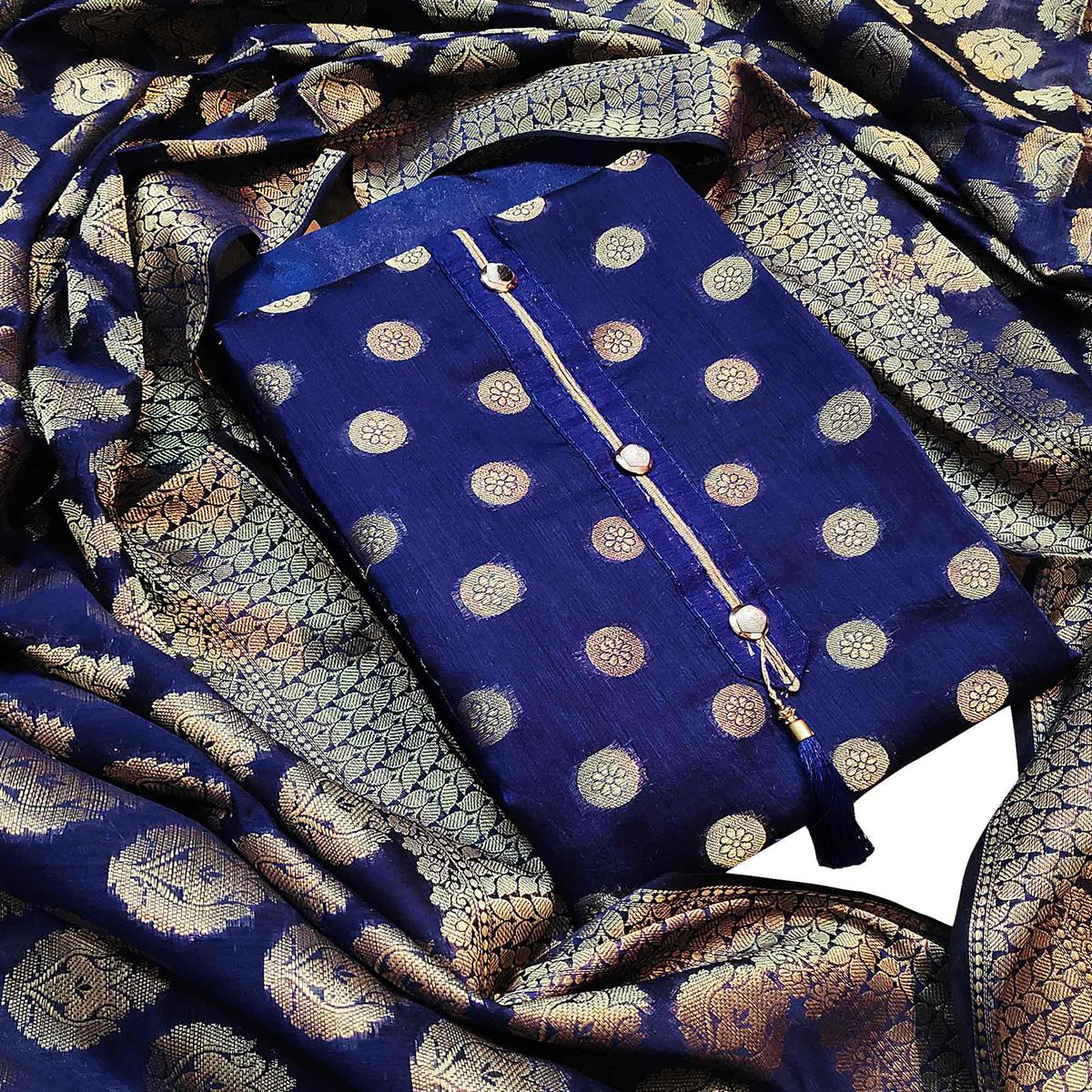 Mesmeric Navy Blue Colored Partywear Embroidered Banarasi Silk Dress Material