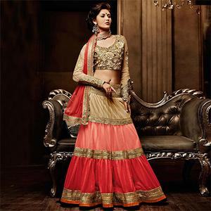 Beige - Pink - Red Embroidered Work Lehenga Choli