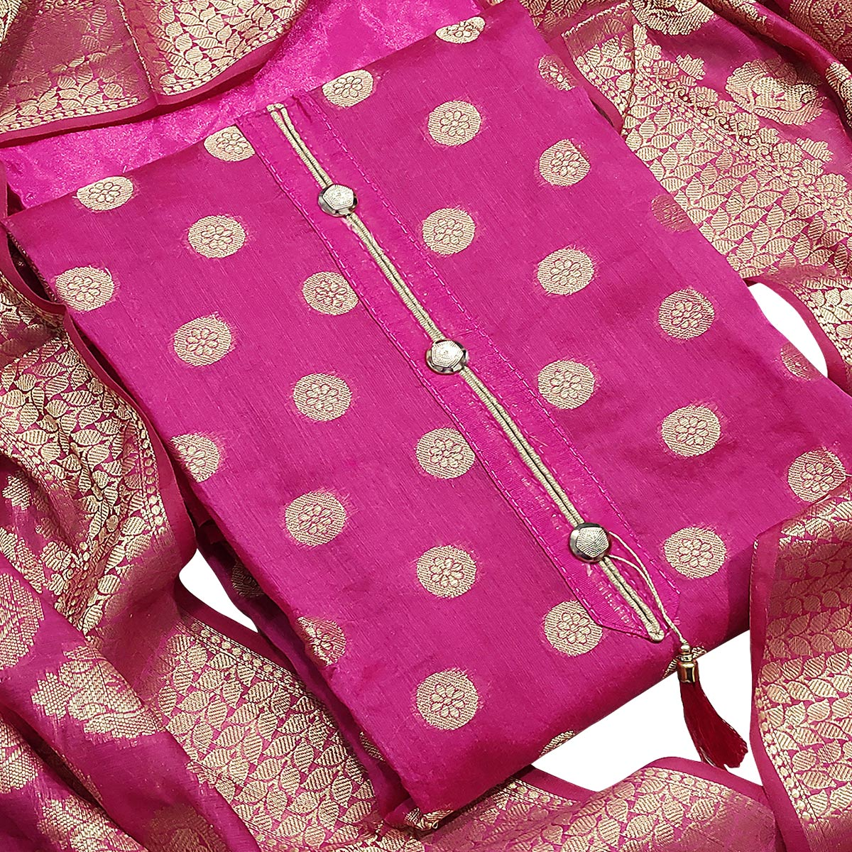 Unique Pink Colored Partywear Embroidered Banarasi Silk Dress Material