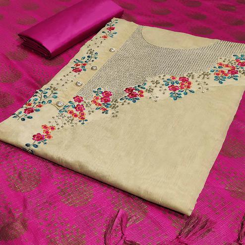 Hypnotic Beige-Pink Colored Partywear Embroidered Modal Silk Dress Material