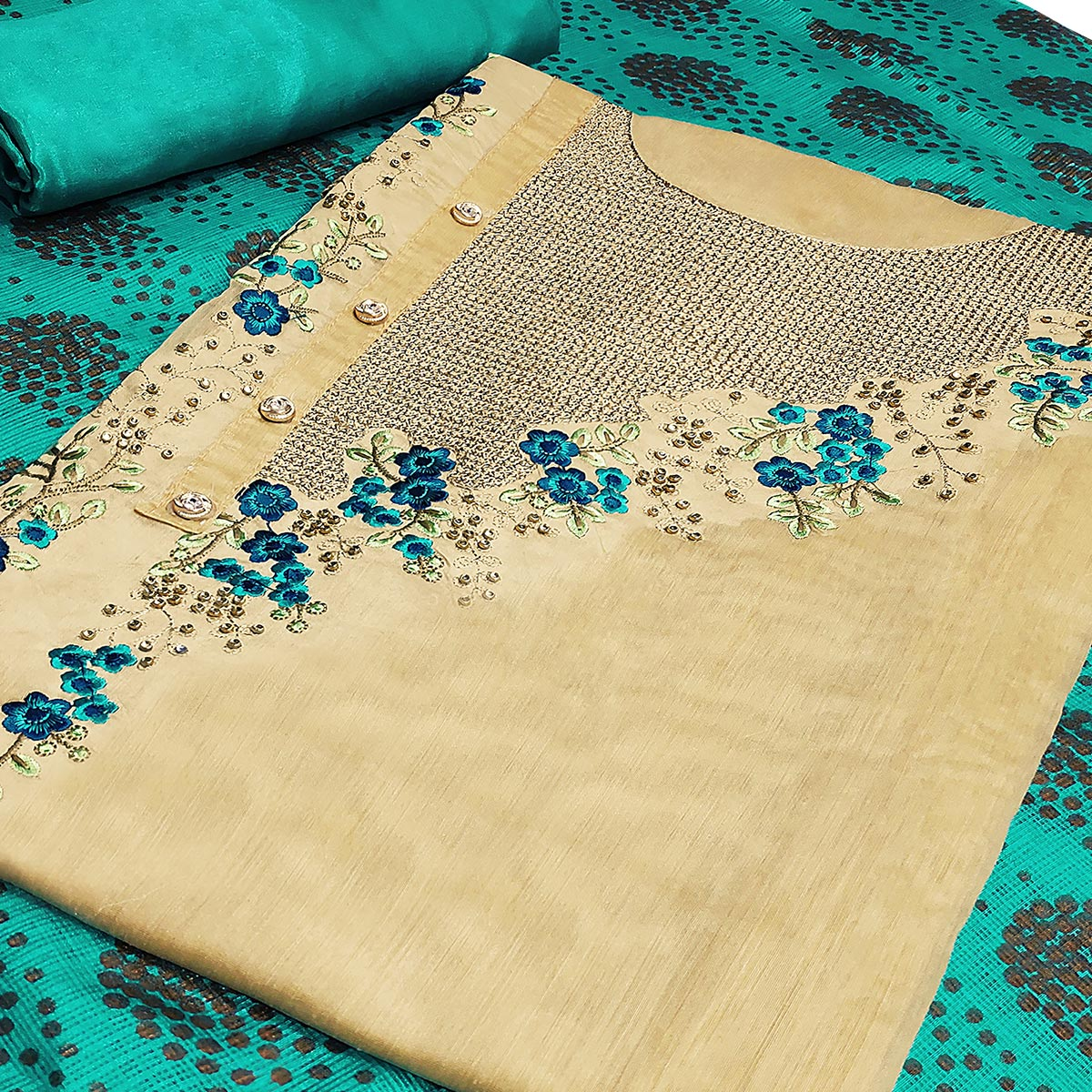 Flattering Beige-Aqua Blue Colored Partywear Embroidered Modal Silk Dress Material
