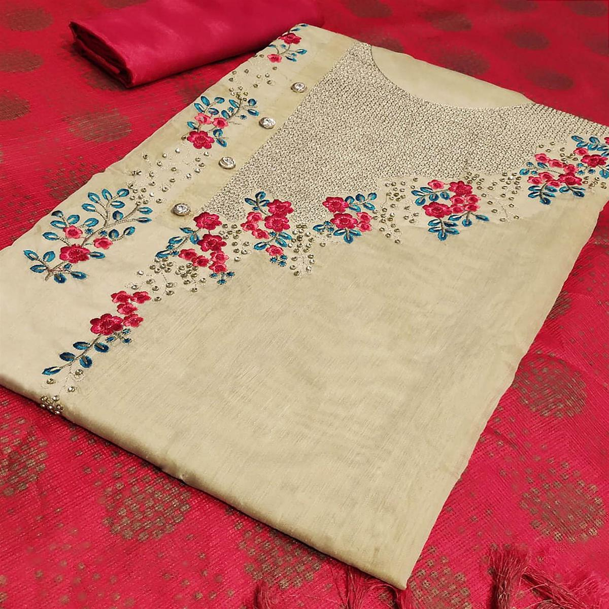 Excellent Beige-Red Colored Partywear Embroidered Modal Silk Dress Material