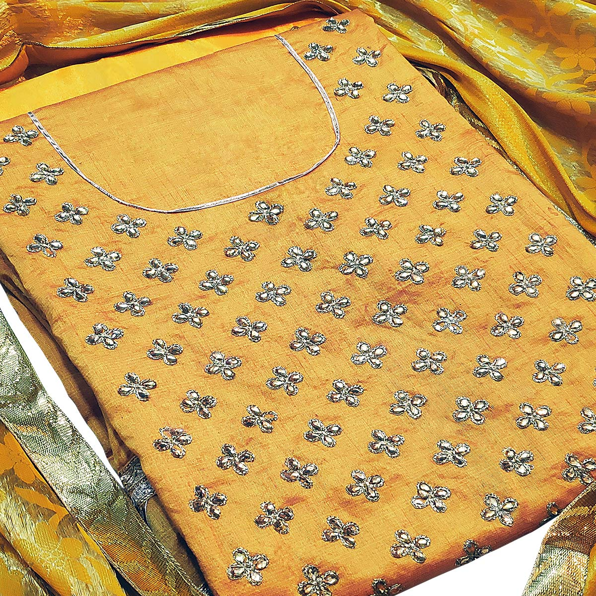 Adorning Yellow Colored Partywear Embroidered Silk Dress Material With Banarasi Silk Dupatta